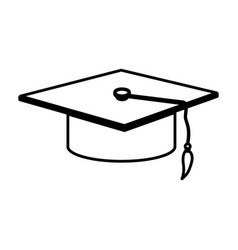 monochrome contour with graduation hat vector image vector image