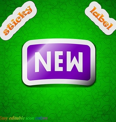 New icon sign symbol chic colored sticky label on vector