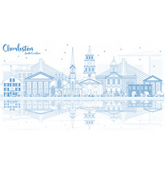 Outline charleston south carolina skyline with vector