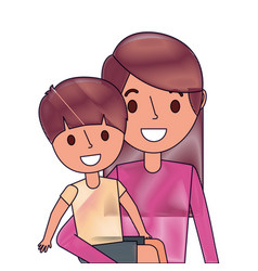 portrait mother carrying her little son vector image