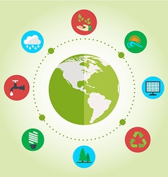Set of flat design concept with icons of ecology vector image vector image