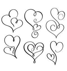 Set of flourish calligraphy vintage hearts vector