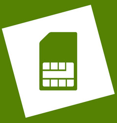 Sim card sign white icon obtained as a vector