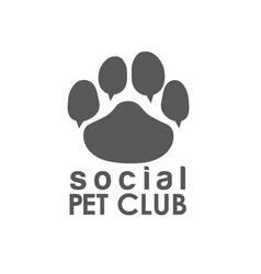 social pet club paw concept design template vector image vector image