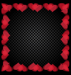 Translucent red heart shaped frame are located vector