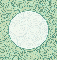 Waves hand drawn curled pattern frame circle vector