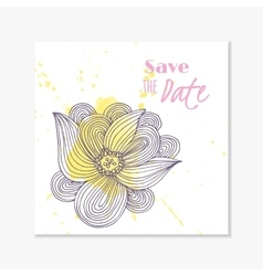 Wedding invitation card template with hand drawn vector image vector image