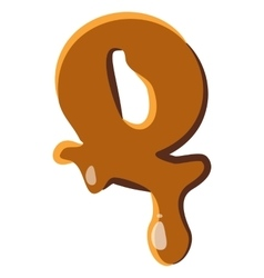 Letter q from caramel icon vector