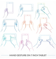 Hand holding 7inch tablet set vector