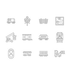 Railroad transportations flat line icons vector