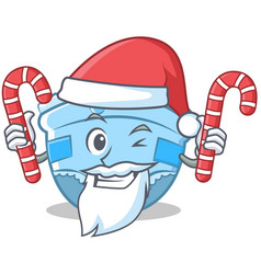 Santa with candy baby diaper character cartoon vector