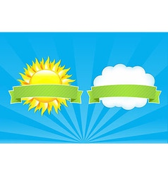 Sun and cloud with ribbons vector