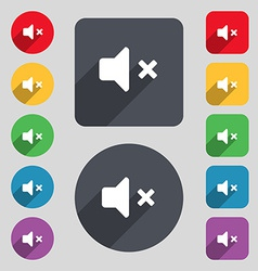 Mute speaker sound icon sign a set of 12 colored vector