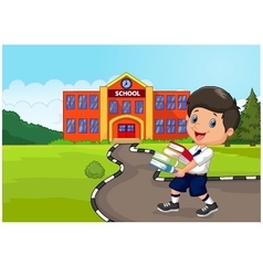 Cartoon boy holding a pile of booksrural child l vector