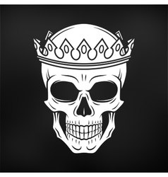 Skull king crown design element on black vector
