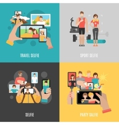 Selfies 4 flat icons square banner vector