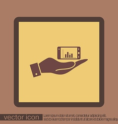 Hand holding a smartphone with diagram vector