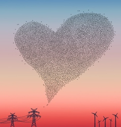 Flock of birds in heart shape vector image