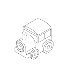 Toy locomotive icon isometric 3d style vector