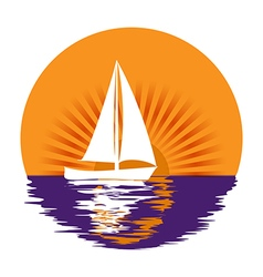 Sailing yacht in the sun vector