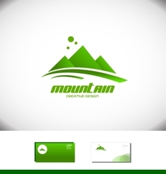 Mountain peak tourism holiday logo vector