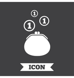 Wallet sign icon cash coins bag symbol vector