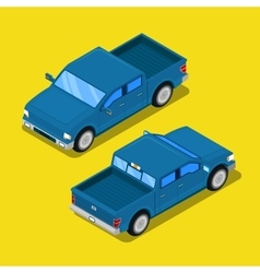Isometric offroad pick-up car in retro style vector