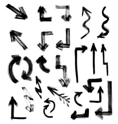 Arrow hand drawn set isolated on white background vector