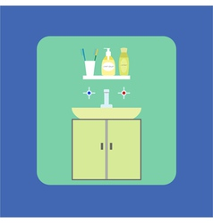 Bathroom interior icon washbasin soap shower gel vector