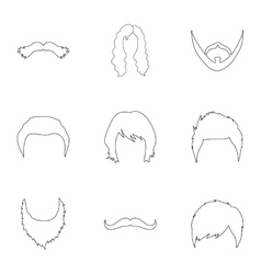 Beard set icons in outline style big collection vector