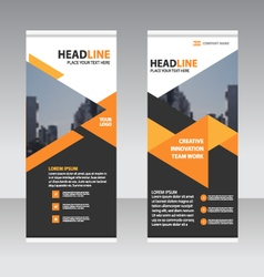 Black orange business trifold Leaflet template vector image vector image