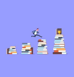 business man jumping over stacks of books to vector image vector image