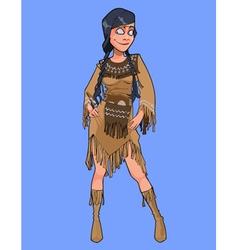 Cartoon smiling woman in national costume injun vector