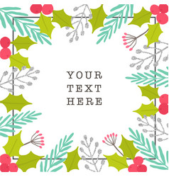 christmas plants frame greeting card vector image vector image