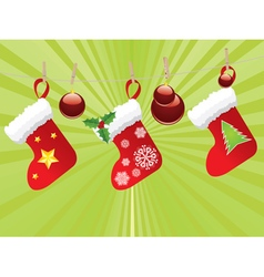 Christmas stockings on rope4 vector