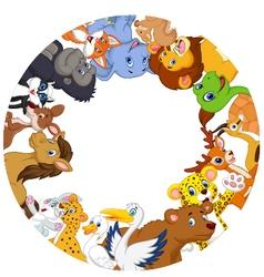Cute animals around globe vector
