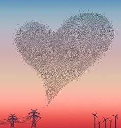 Flock of birds in heart shape vector image vector image