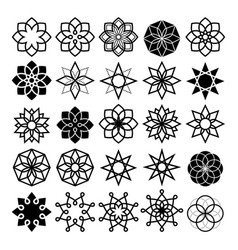 geometric flower and stars collection lineart vector image vector image