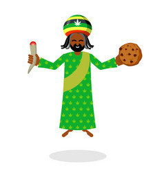god ganja idol jah gives rasta cookies and joint vector image vector image