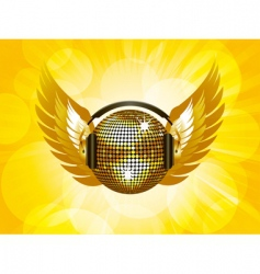 gold disco ball and wings vector image vector image
