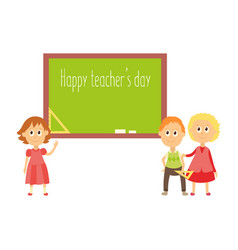happy teacher day greeting card template vector image
