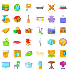 Indoor icons set cartoon style vector