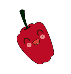 Kawaii red fresh pepper vegetable for farm cartoon vector