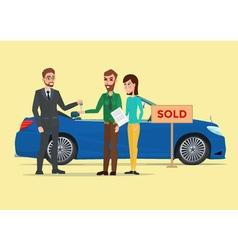 Man woman and car dealer Business cartoon concept vector image