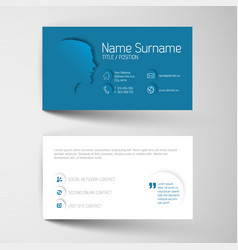 Modern blue business card template with flat user vector