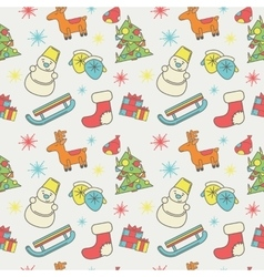 New year or christmas pattern of icons flat style vector