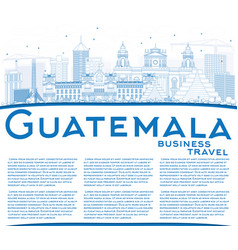 Outline guatemala skyline with blue buildings and vector
