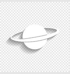 Planet in space sign white icon with soft vector