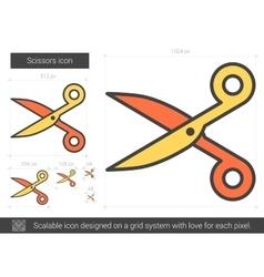 Scissors line icon vector