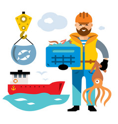Sea port unloading seafood flat style vector